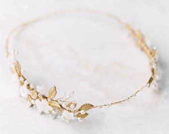 wedding headpiece, gold flower crown, wedding crown, bridal headpiece, floral headpiece, gold bridal crown - ISOLDE