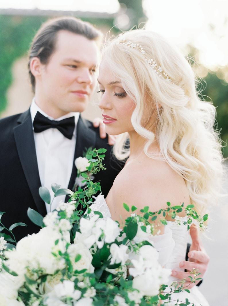 GISELLE floral hair vine delicate bridal hair vine pearl flower wedding headpiece wedding hair vine with flowers