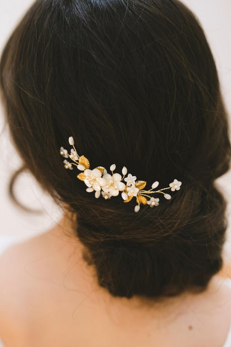 211281c80b479 Wedding hair comb bridal headpiece gold wedding hair