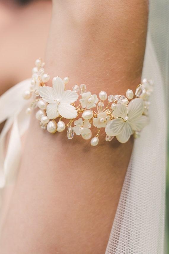 Braut Armband Hochzeit Armband Blumen Armband Hochzeit Etsy
