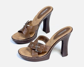 c1cfd14c86 US size 9 womens metal buckle slides open toes sandals brown square chunky  heels summer pumps platforms SODA vintage 90s 1990s streetwear