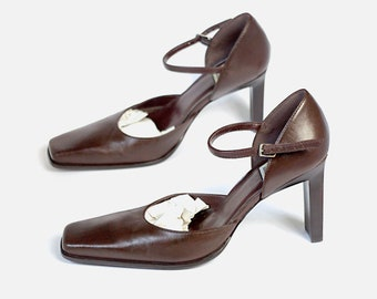 965fde900c2 US size 7.5 womens chunky heels square toe Mary Janes pumps brown leather shoes  BAKERS Made in Brazil vintage 90s 1990s dress formal casual
