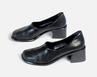 37816617e71 US size 7.5 womens black leather chunky square heels loafers faux snake  scale shoes FRANCO SARTO Made in Brazil vintage 90s 1990s streetwear
