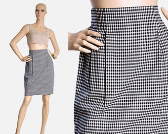 3e7649053ccf9b highwaisted tulip skirt high waisted black white plaid pencil preppy mini  DESIGN PARTNERSHIP classic retro vintage 80s 1980s womens SMALL