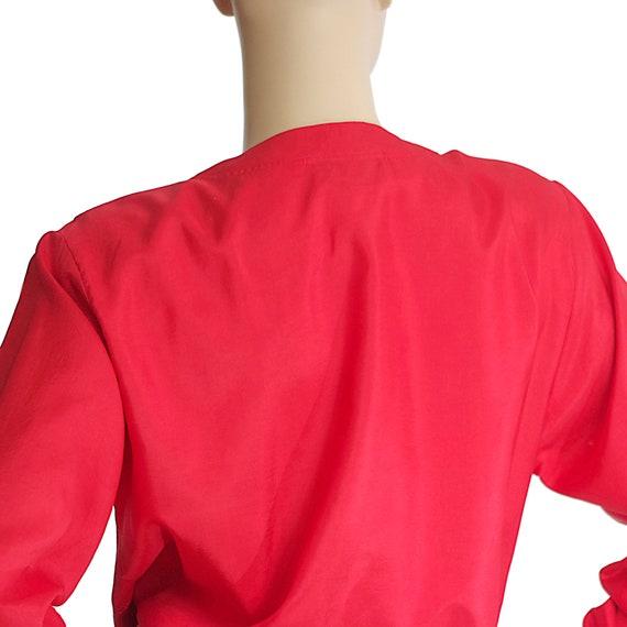 scarlet red bomber blouse top silk-like long slee… - image 3