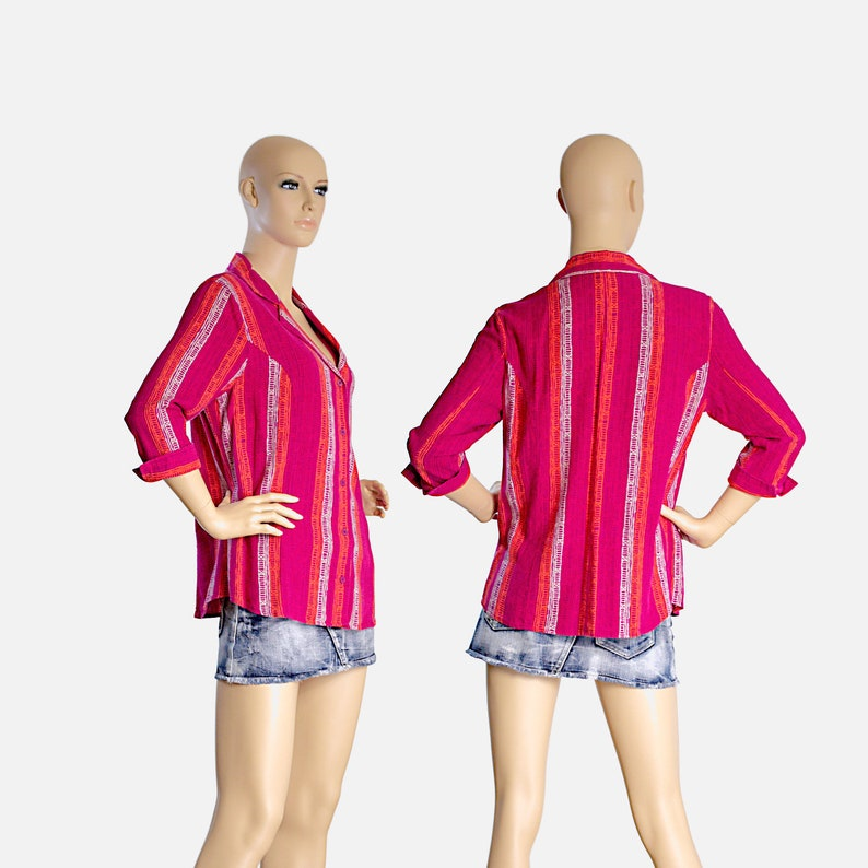red orange magenta stripes striped fitted shirt cotton top blouse retro vintage 80s 1980s summer streetwear hippy hipster size womens MEDIUM