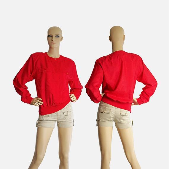 scarlet red bomber blouse top silk-like long slee… - image 1