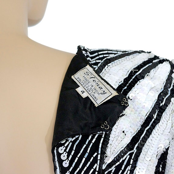 black white beaded sequinned cocktail mini party dress silk tulip flower sleeves pencil fitted STENAY vintage 80s 1980s size womens XSMALL
