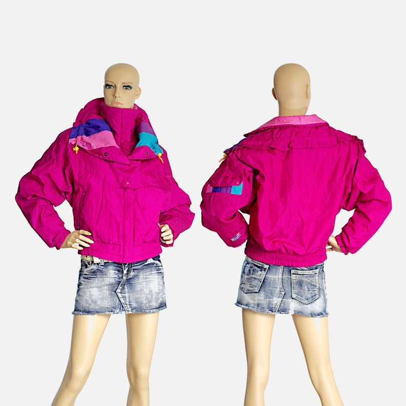 c5af4eef4 puffer jacket neon hot pink retro puffy sport ROFFE vintage 80s 1980s ski  jacket colorblock streetwear hipster size mens SMALL womens LARGE