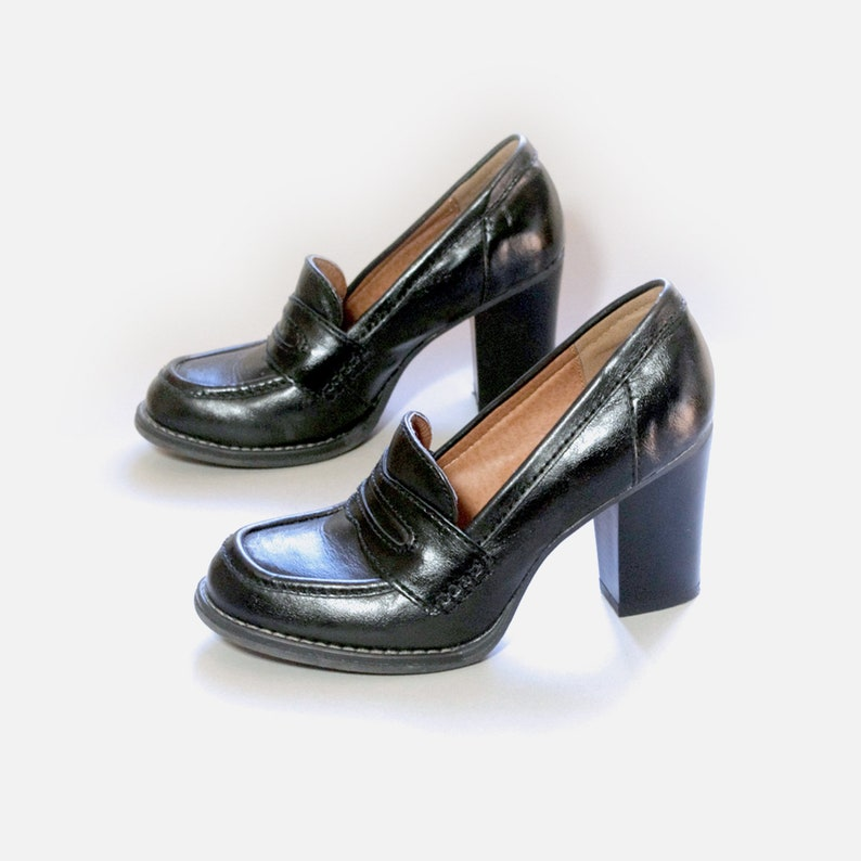 292554d5c24a1 US size 7N womens black heels oxfords chunky heel faux leather XAPPEAL  shoes vintage 90s 1990s fall spring platforms streetwear hipster mod