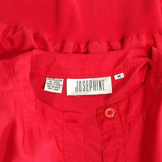 scarlet red bomber blouse top silk-like long slee… - image 5