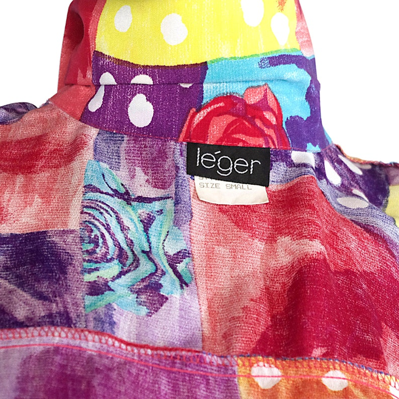 neon rainbow shirt blouse top bright abstract print roses collared short sleeves button-up retro LEGER vintage 80s 1980s size womens LARGE