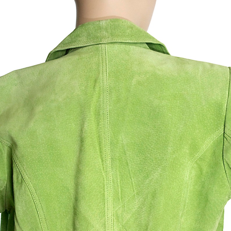 neon lime green genuine leather lapel blazer jacket suite top minimalist retro vintage 90s 1990s hipster preppy streetwear size womens SMALL