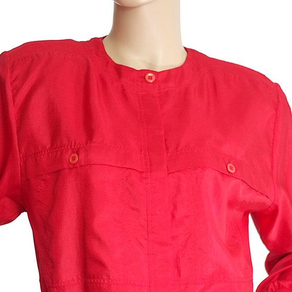 scarlet red bomber blouse top silk-like long slee… - image 2