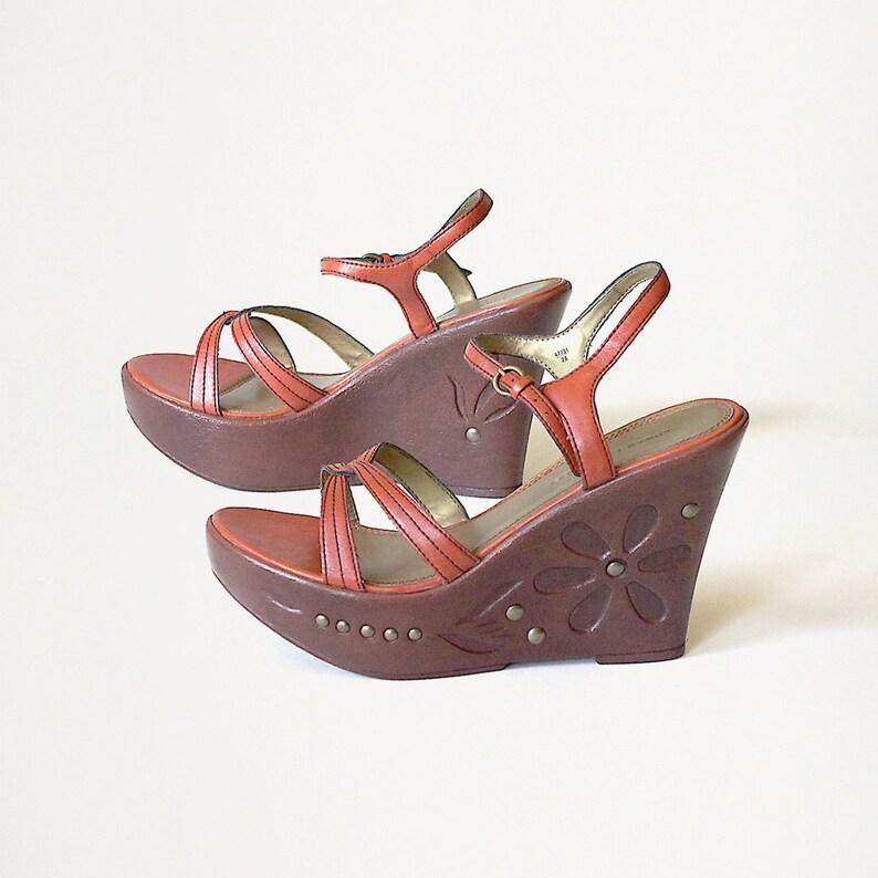 741b5f6f3 US size 7.5 platform wedges sandals brown orange leather