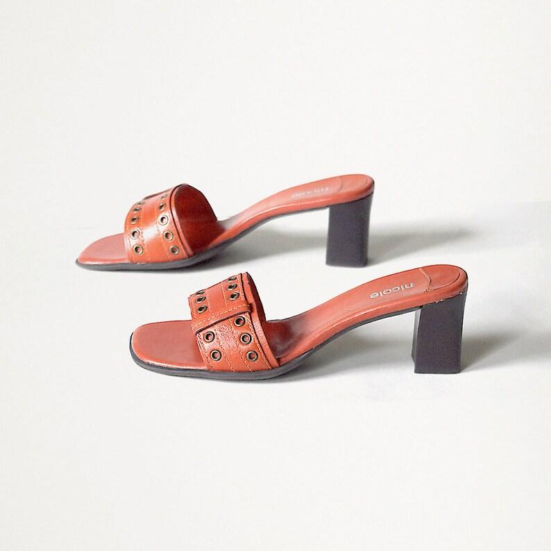 4319235cbf220 US size 7 womens slip-on shoes mod orange leather slides open toe medium  heel sandals mules NICOLE Made in Brazil vintage 90s 1990s