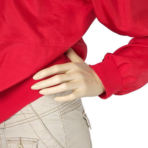 scarlet red bomber blouse top silk-like long slee… - image 4