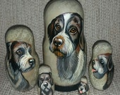 German Wirehaired Pointer on Russian Nesting Dolls. Dogs.