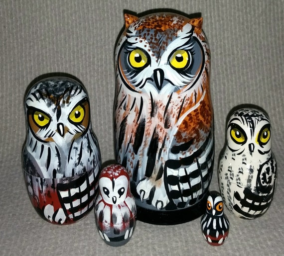 Owls on Five Russian Nesting Dolls. Wild Life. #14