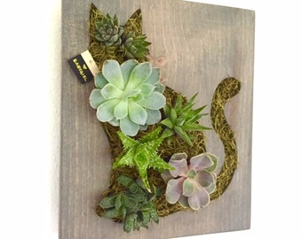 FATHERS DAY GIFT: Cat Succulent + Cacti Vertical Garden | Vertical Planter | Living Wall | Wall Planter