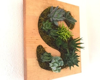 FATHERS DAY GIFT: Initial Letter Succulent and Cacti Vertical Garden | Vertical Planter | Living Wall | Wall Planter