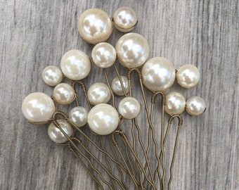 Double Pearl Hair Pins - Large Ivory Shell Pearl Hair Pins (Set of 3 double Pearl pins) - Wedding Hair accessories - Bridal Hair Accessories