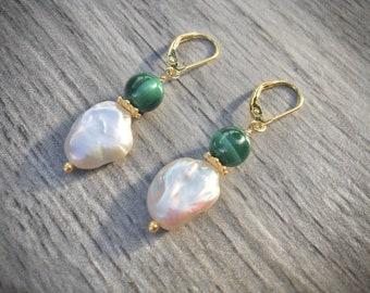 Malachite Pearl Drop Earrings - Gold Boho Earrings - Birthday Present - Green Earrings