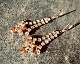 Gold Diamanté Vintage Drop Earrings