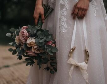 Wedding Horseshoe - Lucky Horseshoe Present - Gold Bridal Good Luck Gift  - New Born Gift