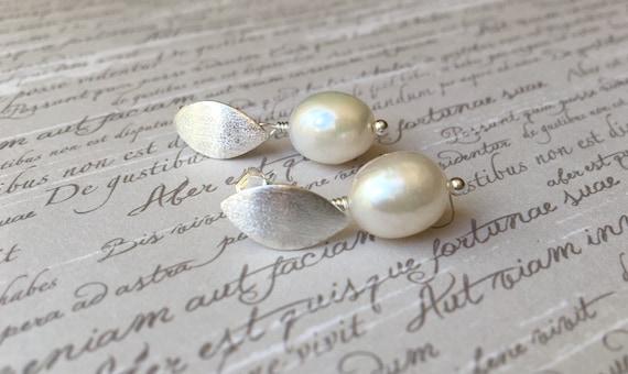 Pearl Drop Earrings Sterling Silver Wedding Earrings  a78c36f54efb
