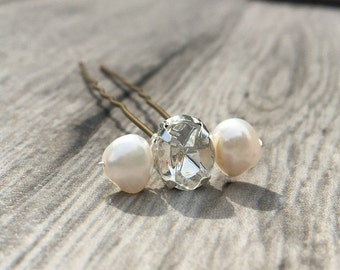 Pearl Wedding Hair Pins, Freshwater Pearl and Rhinestone Bridal Hairpin, Bridal Diamante Pin - Wedding Hair Accessory