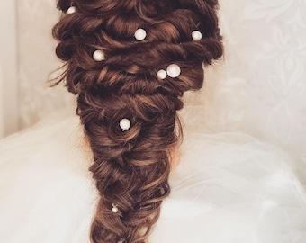 Pearl Hair Pins - Set of 5 Large Ivory Shell Pearl Hair Pins - Wedding Hair Pins - Prom Accessories - Bridal Hair Accessories