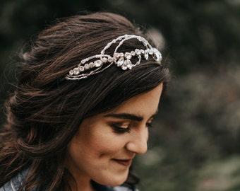 Chloe Diamante Wedding Tiara/Rhinestone Vintage Style Wedding Headband/Bridal Hair Accessory/Diamante Hair Accessory