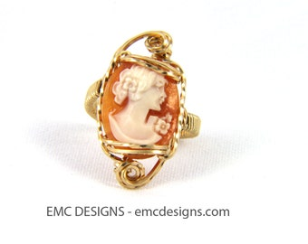 Fancy Cameo Ring in 14 Karat Gold Filled Wire