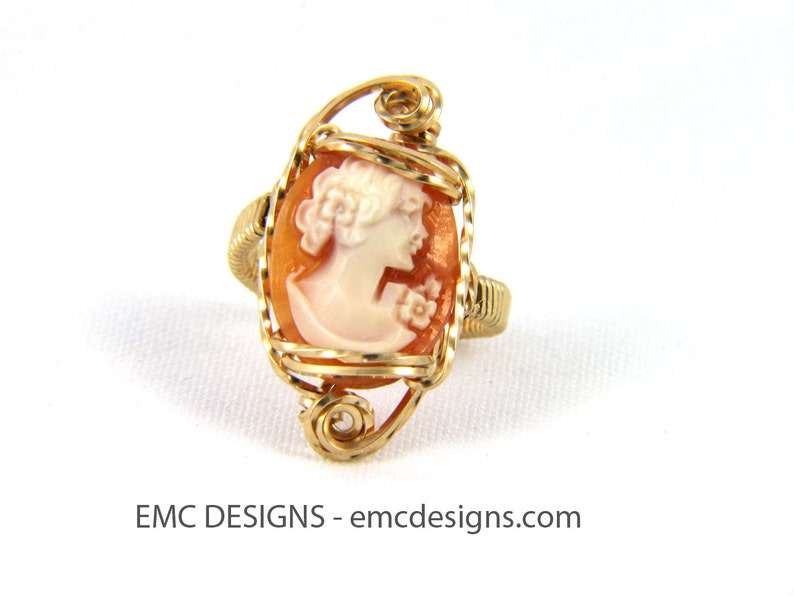Fancy Cameo Ring in 14 Karat Gold Filled Wire image 0
