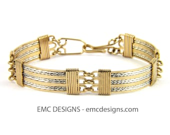 12 Plates Bracelet in 14 Karat Gold Filled Wire and Details in Sterling Silver