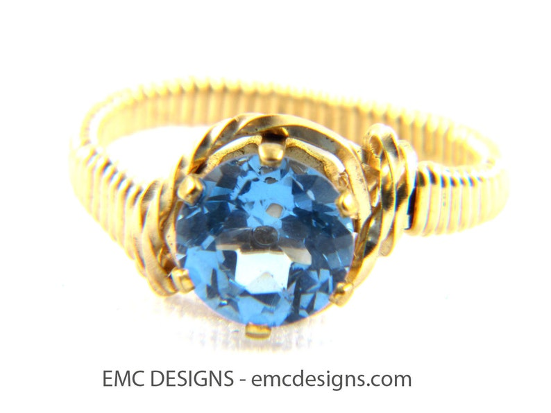 8mm Birthstone Ring in Sterling Silver Wire image 0
