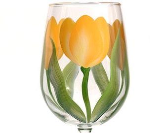 Yellow Tulips Hand-painted Wine Glass