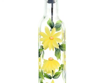 Yellow Daisies Olive Oil Bottle