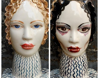 Woman head vase Two-faced sculpture good and evil Face vase Mystical figurine Life and death Decorative vase Angel and demon portrait