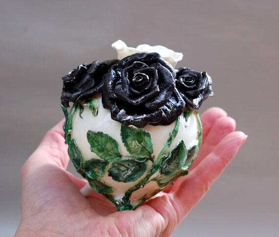 Porcelain Vase Black Rose Vase Ceramic Decor Porcelain Art Etsy