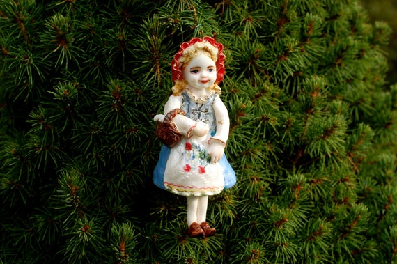 Red Riding Hood Porcelain figurine bell Christmas Tree Ornament Fairy tale character Little girl figurine Collectible bell Christmas gift