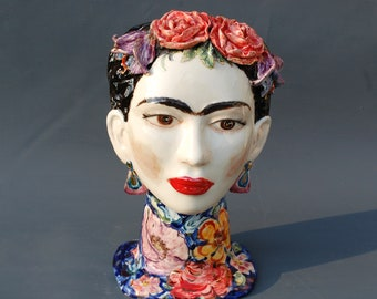 Frida Lady head vase Portrait artist Vase bust Handmade Ceramic sculpture Interior mask Vase face woman Mexican art Original Artwork