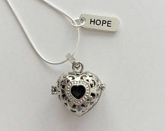Heart Diffuser Necklace EO lava locket Rhodium plated aromatherapy pendant essential oil diffuser jewelry 24-inch chain
