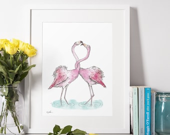 Digital Download, Large Printable Wall Art, Flamingos, Wall Decor, Cross Stitch, Instant Download, digital download gift. Personalized Print