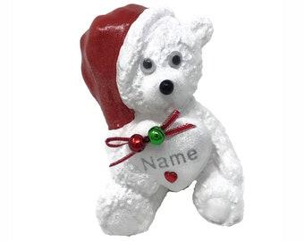 Personalised Christmas Jingle Bells Grave Ornament Memorial White Teddy Bear Girls Boys Garden Graveside Outdoor Garden Cemetery Tribute