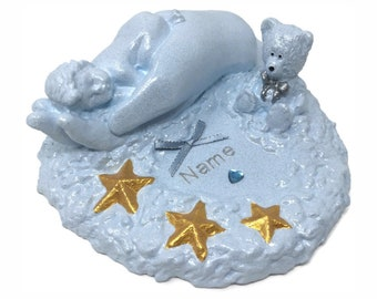 Personalised Grave Memorial Ornament Baby Teddy Bear In Hand Tear Drop Star Blue Birthday Garden Graveside Outdoor Cemetery Tribute Plaque