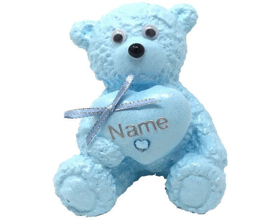 Personalised Grave Ornament Memorial Baby Blue Teddy Bear Boys Garden Graveside Outdoor Garden Cemetery Tribute