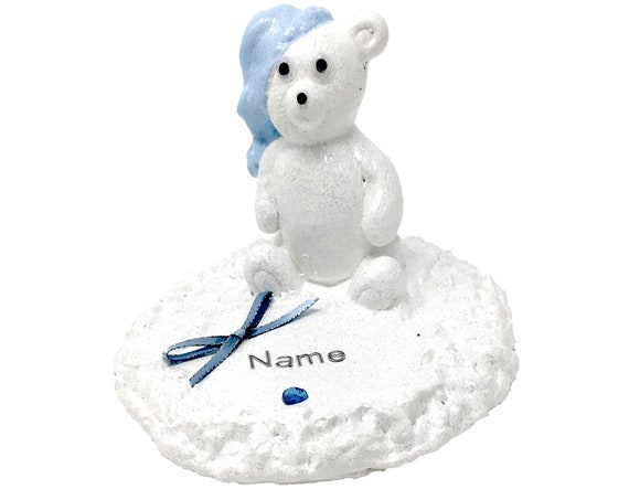Personalised Grave Memorial Ornament Teddy Bear Boys White Plaque Blue Theme Graveside Outdoor Garden Cemetery Tribute