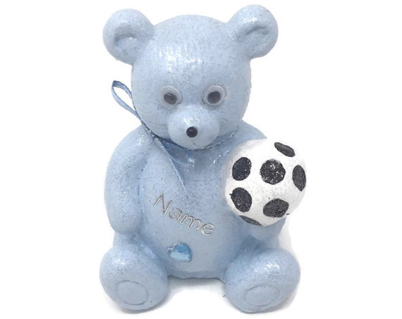Personalised Grave Ornament Memorial Football Boys Blue Fathers Day Teddy Bear Graveside Outdoor Garden Cemetery Tribute